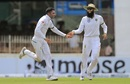 Keshav Maharaj and Hashim Amla celebrate a wicket, Sri Lanka v South Africa, 2nd Test, Colombo, 1st day, July 20, 2018