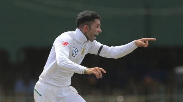 Keshav Maharaj is jubilant after taking a wicket