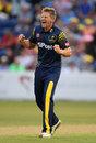 Timm van der Gugten celebrates a wicket, Glamorgan v Somerset, Vitality Blast, Cardiff, July 20, 2018