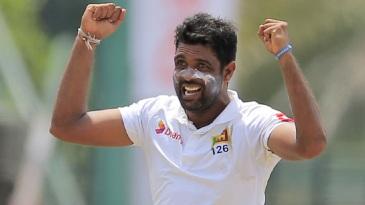 Dilruwan Perera celebrates a wicket