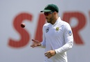 Faf du Plessis tosses the ball, Sri Lanka v South Africa, 2nd Test, SSC, 3rd day, July 22, 2018