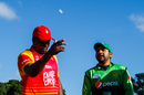 Hamilton Masakadza and Sarfraz Ahmed at the toss, Zimbabwe v Pakistan, 5th ODI, Bulawayo, July 22, 2018