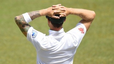 Dale Steyn looks on as South Africa search for wickets