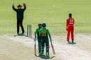 Russell Tiffin signals six after Fakhar Zaman hits Donald Tiripano over the top, Zimbabwe v Pakistan, 5th ODI, Bulawayo, July 22, 2018