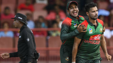 Mashrafe Mortaza celebrates the wicket of Evin Lewis