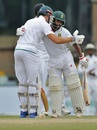 Temba Bavuma hugs Theunis de Bruyn after the latter's first Test half-century, Sri Lanka v South Africa, 2nd Test, SSC, 4th day, July 23, 2018