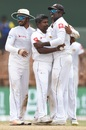 Rangana Herath celebrates a wicket with his team-mates, Sri Lanka v South Africa, 2nd Test, SSC, 4th day, July 23, 2018