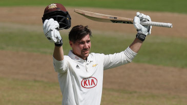 Rory Burns acknowledges his third hundred of the season