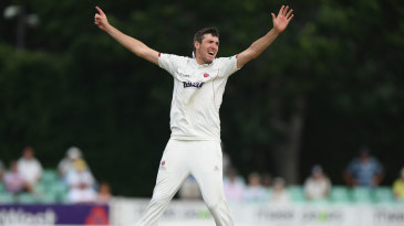 Craig Overton appeals for a wicket