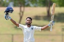 Atharwa Taide celebrates a hundred, Sri Lanka v India, 2nd Youth Test, Hambantota, 1st day, July 24, 2018