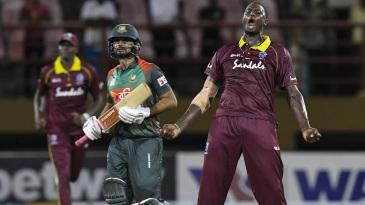 Jason Holder exults after West Indies' last-over win