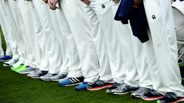 The Durham players line up for squad photographs