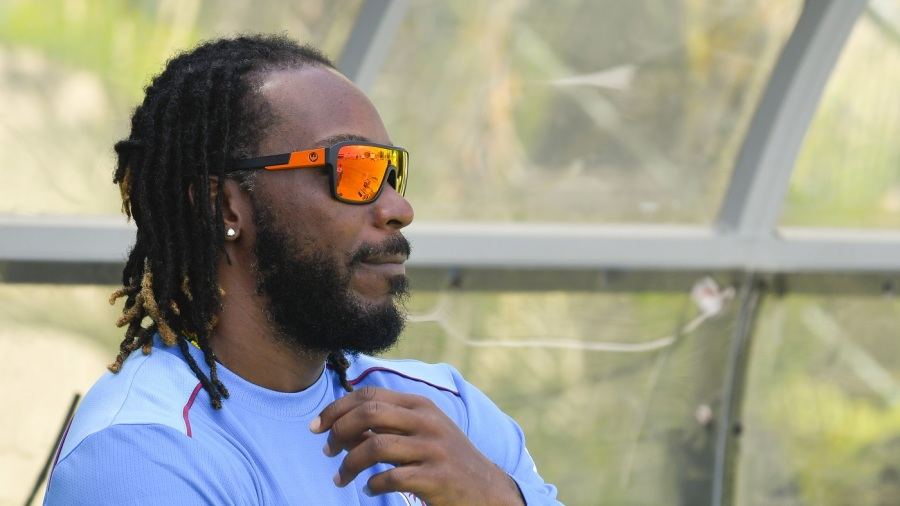 Chris Gayle on the sidelines of West Indies' training session