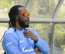 Chris Gayle on the sidelines of West Indies' training session, Basseterre, July 27, 2018