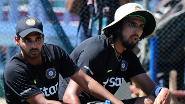 Bhuvneshwar Kumar and Ishant Sharma at practice
