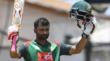 Tamim Iqbal celebrates his 11th ODI hundred