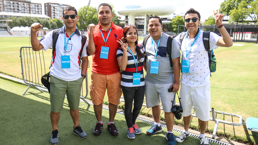 Deshna Bhattarai (center) and her husband Utsal Sigdel (second from right) made the trek from America to see Nepal at Lord's