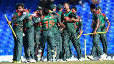Bangladesh's players celebrate their 2-1 series win