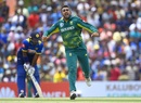 Tabraiz Shamsi wheels away after snaring a wicket, Sri Lanka v South Africa, 1st ODI, Dambulla, July 29, 2018