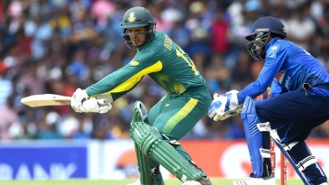 Quinton de Kock tries to play late through the off side