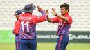 Gyanendra Malla high fives Karan KC for taking a wicket, Nepal v Netherlands, MCC Tri-Series, Lord's, July 29, 2018