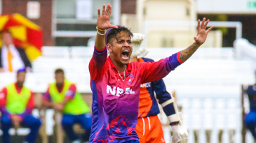 Sandeep Lamichhane roars a strong appeal for lbw
