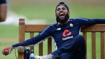 Adil Rashid takes a break at training