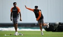 Kuldeep Yadav practices his art at training as spin-partner R Ashwin watches, Edgbaston, July 30, 2018