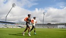 Umesh Yadav and Virat Kohli warm-up at training with a run, Edgbaston, July 30, 2018