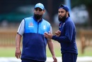 Adil Rashid with spin bowling consultant Saqlain Mushtaq during a practice session, Edgbaston, July 31, 2018