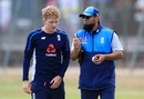 Dominic Bess with Saqlain Mushtaq during a practice session, Edgbaston, July 31, 2018