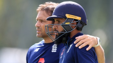 Adil Rashid with Mark Ramprakash during a practice session