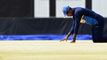 Angelo Mathews inspects the pitch