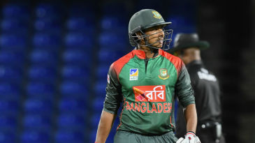 Soumya Sarkar was bowled by Ashley Nurse' quicker delivery