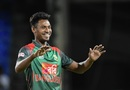 Mustafizur Rahman is chuffed after grabbing a wicket, West Indies v Bangladesh, 1st T20I, St Kitts, July 31, 2018