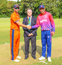 Captains Pieter Seelaar and Paras Khadka at the toss for Nepal's maiden ODI, Netherlands v Nepal, 1st ODI, Amstelveen, August 1, 2018