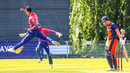 Sompal Kami leaps for joy after bowling Dan ter Braak for Nepal's first ODI wicket, Netherlands v Nepal, 1st ODI, Amstelveen, August 1, 2018