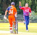 Paras Khadka celebrates after dismissing Wesley Barresi for his second wicket, Netherlands v Nepal, 1st ODI, Amstelveen, August 1, 2018