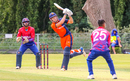 Bas de Leede lofts Sandeep Lamichhane for six over long-on, Netherlands v Nepal, 1st ODI, Amstelveen, August 1, 2018