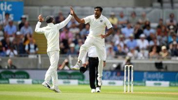 R Ashwin leaps in joy after getting an early wicket