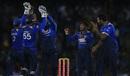 Akila Dananjaya celebrates a wicket with his team-mates, Sri Lanka v South Africa, 2nd ODI, Dambulla, August 1, 2018