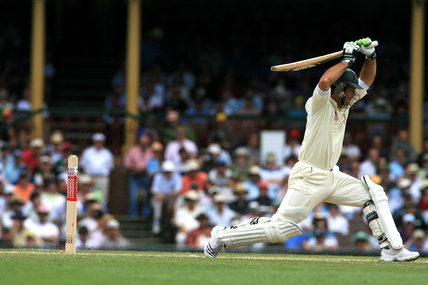 Ricky Ponting lets a delivery go