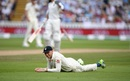 Jos Buttler reacts after a Virat Kohli edge fell just short, England v India, 1st Test, 2nd day, Edgbaston, 2 August, 2018