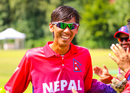 Shakti Gauchan walks through the guard of honor formed by his teammates, Netherlands v Nepal, 1st ODI, Amstelveen, August 1, 2018