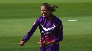 Jenny Gunn celebrates one of her wickets