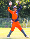 Scott Edwards shouts a huge appeal for a catch, Netherlands v Nepal, 1st ODI, Amstelveen, August 1, 2018