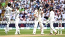 The Indians celebrate while Joe Root holds his head in agony , England v India, 1st Test, 3rd day, Edgbaston, 3 August, 2018
