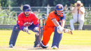 Wesley Barresi reverse sweeps for a boundary, Netherlands v Nepal, 2nd ODI, Amstelveen, August 3, 2018
