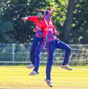 Dipendra Singh Airee celebrates after a successful lbw appeal, Netherlands v Nepal, 2nd ODI, Amstelveen, August 3, 2018