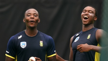 Kagiso Rabada and Lungi Ngidi share a light moment